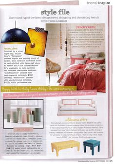 Design in Print│ Home Beautiful November 2013 featuring the Diane Bergeron for Arthur G Collection