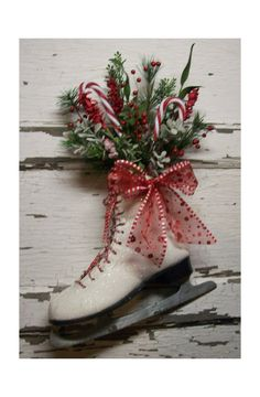 Christmas Ice Skate Christmas wreath Door decor vintage