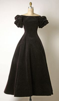 Christian Dior Black Velvet Evening Dress ca. 1957 via The Costume Institute of the Metropolitan Museum of Art
