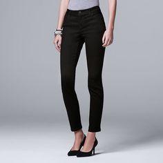 Women's Simply Vera Vera Wang Straight-Leg Jeans, Size: 16 Short, Black