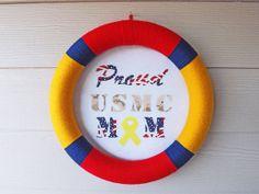 USMC Yarn Wreath by NOLACraftsbyDesign on Etsy, $35.00