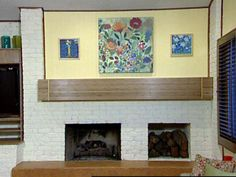 Carter Oosterhouse constructs a bamboo cover for a fireplace mantel. Fireplace Beam, Fireplace Design, Fireplace Mantels, Bamboo Plywood, Diy Mantel, Kitchen Dining Living, Living Room, Bamboo Crafts, Home Theater Design