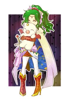 ✧ ✧ Terra and Mog - Final Fantasy 6 / Arte Final Fantasy, Final Fantasy Girls, Fantasy Series, Fantasy Art, V Games, Geek Games, Cg Artwork, Anime Artwork, Game Character