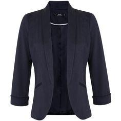 Miss Selfridge Petites Navy Ponte Blazer ($68) ❤ liked on Polyvore featuring outerwear, jackets, blazers, navy, petite, petite jackets, ponte knit blazer, navy blue jacket, ponte knit jacket and petite blazers
