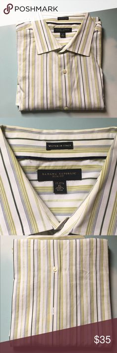 Banana Republic Men's long sleeve Banana Republic button down. Light green, sage, navy blue, and white shirt. Men's size XL slim fit. 17-17 1/2 in gently worn. Dry cleaned only. Banana Republic Shirts Dress Shirts