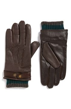 Ted Baker London 'Onlyted' Ribbed Cuff Leather Tech Gloves available at #Nordstrom