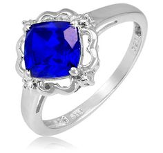 $19.99 - 1.4 Carat Blue Sapphire Diamond Accent Diagonal Square Design Sterling Silver Ring