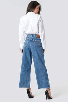 Levi's Ribcage Pleated Crop Jeans Med Indigo - Flat Finish