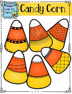 Candy Corn Clipart by Kelly B. 12 candy corn doodles (6 in colorful fall colors and 6 in black and white). High quality 300 dpi for crisp, sharp lines. For commercial and personal use. $