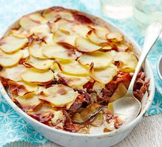 This healthy aubergine gratin makes amoreish side dish with lamb but can be eaten veggie as well