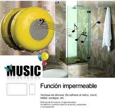 Descripcion del producto Color: amarillo Modelo: BTS-06 Color: amarillo Material: ABS Tamano: aprox. 8.5 x 5.5cm Nivel de impermeabilidad: IPX4 (impermeable para uso diario) Parametros: 1. Tecla/Interfaz: tecla ON/OFF, 1 x interfaz USB DC2.5mm, reproduccion/pausa, tecla de cancion... http://altavocespara.com/bluetooth/ducha/memteq-hifi-altavoz-bluetooth-ducha-inalambrico-impermeable-con-ventosa-manos-libres-bano-piscina-coche-cocina-con-microfono-impermeable-portatil-amarillo