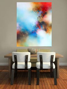 Large Canvas Mixed Media Abstract Painting by SimonkennysPaintings
