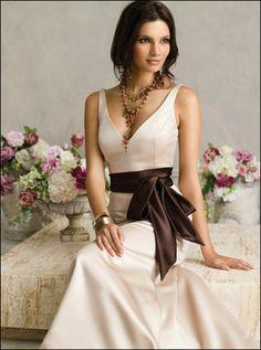 Wedding, Dress, Brown, Jim hjelm, V-neck, Sash - Project Wedding