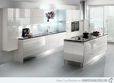 17 White and Simple High Gloss Kitchen Designs White Kitchen Ideas designs Gloss High Kitchen Simple White Grey Gloss Kitchen, High Gloss White Kitchen, High Gloss Kitchen Cabinets, Modern Kitchen Cabinets, White Cabinets, Kitchen White, Kitchen Modern, Home Design, Luxury Kitchen Design