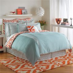 IN LOVE! Jill Rosenwald Newport Gate Duvet Cover found on Layla Grayce #laylagrayce #orange #turquoise #interiordesign