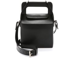 MM6 Takeout Cross Body Bag (3,670 CNY) ❤ liked on Polyvore featuring bags, handbags, shoulder bags, black, leather handbags, black leather shoulder bag, leather crossbody handbags, leather crossbody en black leather handbags