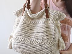 Crochet Bohemian Style Handbag Crochet Boho Tote Bag Shopper