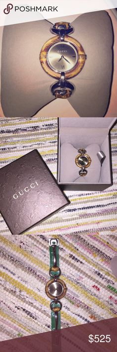 Gucci Bamboo bracelet watch EUC w/ original box EUC Gucci bracelet watch style number YA132402. Some minor wear on stainless steel and bamboo, see pics. But a very clean and timeless watch. Bamboo is not water resistant. Serial number 3250 and date of issue is 08/12 stamped on inside of clasp. Serious offers only please! This watch retails for $1050. Thanks for looking! Gucci Accessories Watches