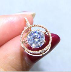 Ringjewels 1.28 Ct Round Cubic Zirconia Diamond Heart Lock Key Pendant 18 Chain 14K Rose Gold Plated