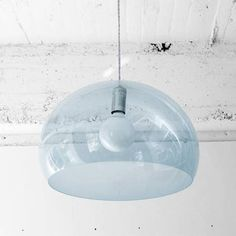Used Kartell pendant in light blue. It's a fantastic modern lamp that was damaged when we moved. However, you can't see the damage from below, especially if you use a globe bulb as recommended....