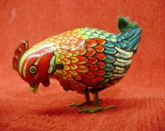 A Collector Vintage German Wind Up Rooster Lithographed Tin Toy // Made in U.S. Zone Germany // D.G.R.M // German Reich Registered Design