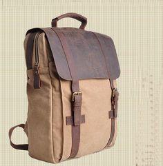 """Large Antique Handmade Leather Backpack / Satchel / Travel Bag / 17"""" Laptop 17""""…"""