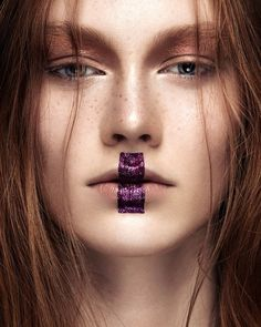 Purple glitter lip makeup // Photo by Ruo Bing Li