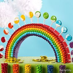 Rainbow Party: Spray half a foam circle with red and purple color mist, then make rainbow rows of chocolate drops or mini gumballs on the front and pop in swirly lollipops on top. {idea from Party City}