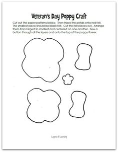 poppy_pattern Make this Veterans Day poppy craft. It's also a great Remembrance Day craft, of course. Read the poem by John McCrae. Remembrance Day Activities, Remembrance Day Poppy, Wreath Crafts, Flower Crafts, Felt Crafts, Kids Crafts, Paper Crafts, Poppy Template, Memorial Day Poppies