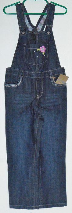 Toddler girl Genuine Kids dark wash jean bib coverall  overall  size 5T #GenuineKids #Overalls #Everyday