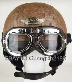 NEW Brown Leather Vintage Motorcycle Scooter Half Open Face Helmet Goggles Free | eBay