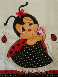 Bonita Tole Painting, Fabric Painting, Ladybug Art, Bee Art, Printable Designs, Cute Characters, Applique Quilts, Cute Cartoon, Baby Quilts