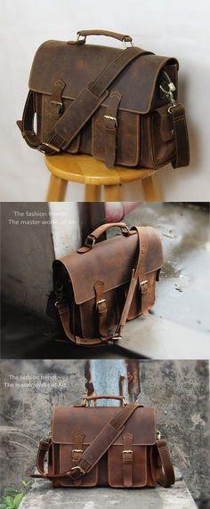 0912684090cf Vintage Handmade Crazy Horse Leather Briefcase   Messenger Satchel 13