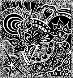 Rebirth Zentangle Art Print, available to buy at society6.com/wealie.  An original white sakura gelly roll pen zentangle design on black card.
