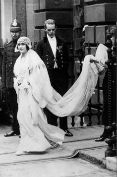 Lady Elizabeth Bowes-Lyon (later Queen Elizabeth) en route to her wedding at Westminster Abbey, 26 April 1923.