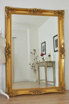 Large Gold Very Ornate Antique Design Wall Mirror 7Ft X 5Ft (213cm X 152cm)