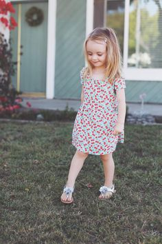 Adorable little girl's dress by Merrick White // Make your own dress with fabric from Joann.com.