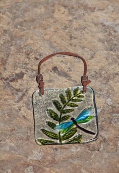 Stained Glass Wall Plaque with Dragonfly and Fern ***MAKE WITH BEADS>MELT IN OVEN!***