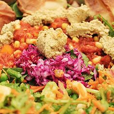 """Rainbow salad with a raw cilantro-cauliflower """"cheese"""", a raw corn-chili, a peacamole. Train your palate to savor fruits and vegetable in their natural state without adding processed oils, sugars, salt, or dairy products. Make your life simple with pure,"""