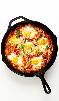 Make-ahead breakfast: Portuguese baked eggs. Baked eggs are great for brunch, and this version is no exception. But with a salad of leafy greens, it's also hearty and satisfying enough to double as dinner. Egg Recipes, Brunch Recipes, Cooking Recipes, Breakfast Recipes, Dinner Recipes, Tailgating Recipes, Barbecue Recipes, Barbecue Sauce, Brunch Ideas