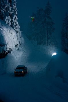Grant Gunderson's Skiing Photography Dana Flahr throwing a lawn dart front flip over the Mt. Baker road gap at dusk. Photo by Grand Gunderson Winter Magic, Winter Fun, Winter Snow, Winter Time, Winter Night, Ski Extreme, Extreme Sports, Snow Scenes, Winter Scenes