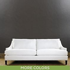I like the lines of this sofa (modern/slightly feminine/clean). Also available in an apartment size sofa Manchester Sofa - Elegant Sofa - Hardwood Sofa - Dark Walnut Sofa