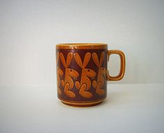 Vintage Hornsea Pottery Mug with Rabbits by VintageHomeShop, $24.00