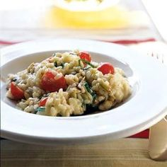 Risotto with Fresh Mozzarella, Grape Tomatoes, and Basil Recipe | MyRecipes.com