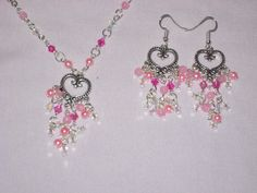 heart shape pendant with pink and clear crystals necklace earring set handmade  #Handmade