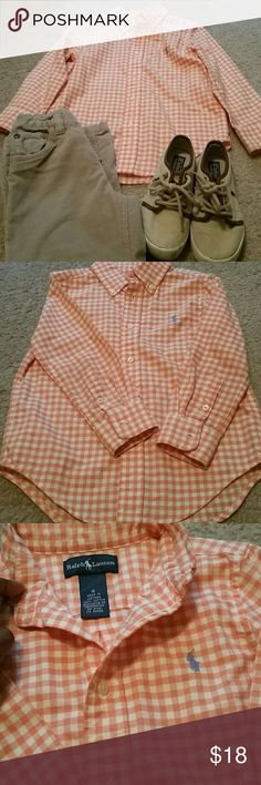 Boys Polo Button Down! Trendy, fashionable button down collar shirt for that cool dude in your life. Orange & white checkered pattern. Great condition. Worn once or twice. Hate to let it go! You will love it on your little one! Polo by Ralph Lauren Shirts & Tops Button Down Shirts