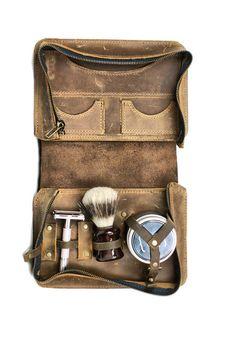 Men's Shaving Kit Wet Shaving Toiletry Bag by DivinaDenuevo-very nice