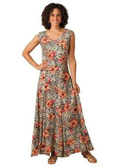 Woman Within Plus Size Dress In Maxi Length With V-Neck, Crinkle Texture (Animal Floral Print,1X) - Casual