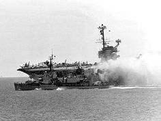 The USS Forrestal on Fire, 1967, the worst US carrier fire since WWII.