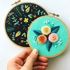 Happy hoops. The black one will be listed soon! . . . . #embroidery #embroideryart #embroideryinstaguild #handembroidery #bordado #broderie #ricamo #nakis #craftspire #craftsposure #makersvillage #makersmovement #marablelake #etsy #etsyshop #etsysellersofinstagram #stitchrebellion #dmcthreads #embroideryinstaguild #floral #design #turquoise #colorlove #stitch